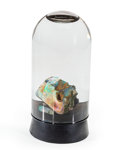 Minerals:Small Cabinet, Opal. Virgin Valley. Humboldt County. Nevada, USA. 4.13 x 1.81 inches (10.50 x 4.61 cm) in glass jar. ...
