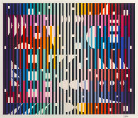 Yaacov Agam (b. 1928) Night Rainbow, 1982 Screenprint in colors on paper 35 x 42 inches (88.9 x 106.7 cm) (image) Ed