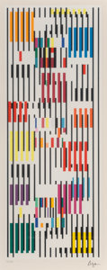 Prints & Multiples, Yaacov Agam (b. 1928). Untitled, late 20th century. Screenprint in colors on paper. 29-3/4 x 16-3/4 inches (75.6 x 42.5 ...