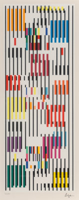Yaacov Agam (b. 1928) Untitled, late 20th century Screenprint in colors on paper 29-3/4 x 16-3/4 inches (75.6 x 42.5