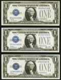 Fr. 1601 $1 1928A Silver Certificates. Two Examples. Crisp Uncirculated or Better; Fr. 1602 $1 1928B Silver Cer