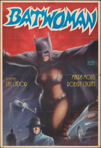 "Batwoman (Akin Film, R-1980s). Folded, Fine+. Turkish One Sheet (26.75"" X 39""). Huseyin Artwork. Action"