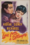 """Movie Posters:Mystery, Love from a Stranger (Eagle Lion, 1947). Folded, Very Fine. One Sheet (27"""" X 41""""). Mystery.. ..."""