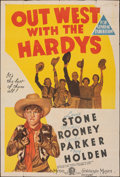 """Movie Posters:Comedy, Out West with the Hardys (MGM, 1939). Folded, Fine. Australian One Sheet (27"""" X 40""""). Comedy.. ..."""