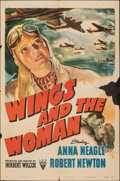 """Movie Posters:Drama, Wings and the Woman (RKO, 1942). Folded, Fine-. One Sheet (27"""" X 41""""). Drama.. ..."""