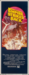 """Movie Posters:Science Fiction, The Empire Strikes Back (20th Century Fox, R-1982). Rolled, Very Fine. Insert (14"""" X 36""""). Tom Jung Artwork. Science Fiction..."""