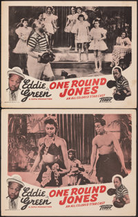 """One Round Jones (Toddy Pictures, 1940). Fine/Very Fine. Lobby Cards (2) (11"""" X 14""""). Black Films. ... (Total:..."""
