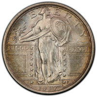 1917 25C Type One MS66 Full Head PCGS. CAC. PCGS Population: (585/88). NGC Census: (344/63). CDN: $975 Whsle. Bid for NG...