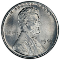 """(2)1943 1C MS66 PCGS. The current Coin Dealer Newsletter (Greysheet) wholesale """"bid"""" price is $30.00"""