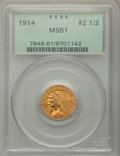 Indian Quarter Eagles: , 1914 $2 1/2 MS61 PCGS. PCGS Population: (481/2377). NGC Census: (1977/3656). CDN: $500 Whsle. Bid for NGC/PCGS MS61. Mintag...