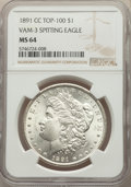 1891-CC $1 Spitting Eagle, VAM-3, Top 100, MS64 NGC. NGC Census: (520/44). PCGS Population: (129/30). MS64. ...(PCGS# 13...