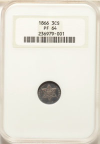 1866 3CS PR64 NGC. NGC Census: (58/48). PCGS Population: (84/51). CDN: $825 Whsle. Bid for NGC/PCGS PR64. Mintage 725...