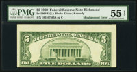 Misaligned Back Printing Error Fr. 1969-E $5 1969 Federal Reserve Note. PMG About Uncirculated 55 EPQ