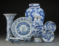 A Group of Nine Chinese Blue and White Porcelain Articles, Ming Dynasty-Qing Dynasty transitional period Marks: (v