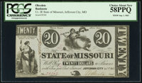 Jefferson City, MO- State of Missouri (Secessionist) $20 Aug. 1, 1863/Jan. 1, 1862 Cr. 2E PCGS Choice About New 58