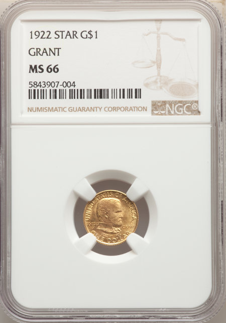 1922 G$1 Grant, With Star 66 NGC