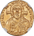 Ancients:Byzantine, Ancients: Justinian II, first reign (AD 685-695). AV solidus (19mm, 4.28 gm, 6h). NGC Choice MS★ 5/5 - 5/5....
