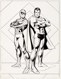 Ross Andru, Neal Adams and Dick Giordano Superman vs. The Amazing Spider-Man Treasury Back Cover Original Art (Mar