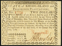 Rhode Island July 2, 1780 $2 Choice New