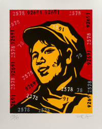 Wang Guangyi (Chinese, b. 1957) Belief Girl No. 6,, 2006 Lithograph in colors on paper 24-3/4 x 1