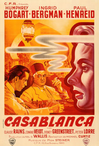 "Casablanca (Warner Bros., 1947). Very Fine on Linen. First Post-War Release French Half Grande (31.5"" X 46.5"")..."