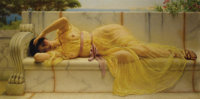 JOHN WILLIAM GODWARD (British 1861-1922) Girl in Yellow Drapery, 1901 Oil on canvas 12 x 24 inche