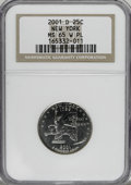 Statehood Quarters, 2001-D 25C New York W Prooflike MS65 NGC. NGC Census: (38/266). PCGS Population (286/1297). Numismedia Wsl. Price for NGC/...