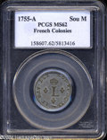 Colonials: , 1755-A French Colonies Sou Marque MS62 PCGS. ...