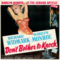 """Movie Posters:Film Noir, Don't Bother to Knock (20th Century Fox, 1952). Very Fine- on Linen. Six Sheet (80"""" X 79.5"""").. ..."""