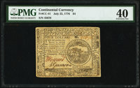 Continental Currency July 22, 1776 $4 PMG Extremely Fine 40