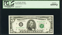 Fr. 1973-B* $5 1974 Federal Reserve Note. PCGS Gem New 65PPQ