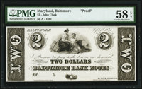 Baltimore, MD- (John Cook) $2 Sep. 1, 1841 Proof Shank 5.33.26P PMG Choice About Unc 58 EPQ