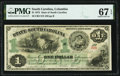 Columbia, SC- State of South Carolina $1 Mar. 2, 1872 PMG Superb Gem Unc 67 EPQ