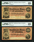 Confederate Notes:1864 Issues, T64 $500 1864 PMG Very Fine 25.. PF-1 Cr. 489A;. PF-3 Cr. 489B.. ... (Total: 2 notes)