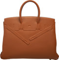 Luxury Accessories:Bags, Hermès Limited Edition 35cm Gold Swift Leather Shadow Birkin Bag with Palladium Hardware. M Square, 2009. Condition: 2...