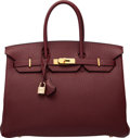"""Luxury Accessories:Bags, Hermès 35cm Bordeaux Clemence Leather Birkin Bag with Gold Hardware. I Square, 2005. Condition: 2. 14"""" Width x 10""""..."""