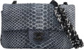 """Luxury Accessories:Bags, Chanel Navy Blue Python Flap Bag with Ruthenium Hardware. Condition: 2. 8"""" Width x 5"""" Height x 2.5"""" Depth. ..."""