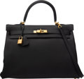 "Luxury Accessories:Bags, Hermès 35cm Black Clemence Leather Kelly with Gold Hardware. Condition: 2. 13.5"" Length x 10"" Height x 5"" Depth. ..."