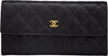 """Luxury Accessories:Accessories, Chanel Black Quilted Caviar Leather Wallet with Gold Hardware. Condition: 3. 7.5 """"Width x 4"""" Height x 1"""" Depth. ..."""