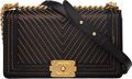 """Luxury Accessories:Bags, Chanel Black Leather Chevron Boy Bag with Gold Hardware. Condition: 4. 10"""" Width x 6""""Height x 3"""" Depth. ..."""