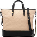 """Luxury Accessories:Bags, Chanel Distressed Quilted Cream and Black Leather Calfskin Tote with Gunmetal and Gold Hardware. Condition: 2. 13.5"""" W..."""