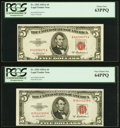 Fr. 1533 $5 1953A Legal Tender Notes. Two Examples. PCGS Graded. ... (Total: 2 notes)