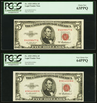 Fr. 1533 $5 1953A Legal Tender Notes. Two Examples. PCGS Graded
