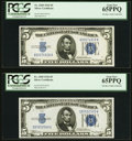 Fr. 1650 $5 1934 Silver Certificate. Two Examples. PCGS Gem New 65PPQ. ... (Total: 2 notes)