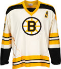 Hockey Collectibles:Uniforms, 1973-74 Phil Esposito Game Worn Boston Bruins Jersey--Photo Matched!...