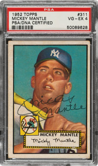 1952 Topps Mickey Mantle #311 PSA VG-EX 4, Signed