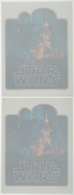 """Star Wars (20th Century Fox, 1977). Near Mint. Iron-On T-Shirt Decals (2) Identical (9.5"""" X 12.75"""") Greg and T..."""