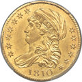 Early Half Eagles, 1810 $5 Large Date, Large 5, BD-4, R.2, MS64+ PCGS....