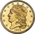 Early Half Eagles, 1834 $5 With Motto, Crosslet 4, BD-2, R.5 MS63+ PCGS....