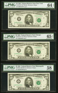 $5 Federal Reserve Notes PMG Graded. Fr. 1976-B* 1981 Star Choice Uncirculated 64 EPQ; Fr. 1976-G* 1981 Star Gem Unc...
